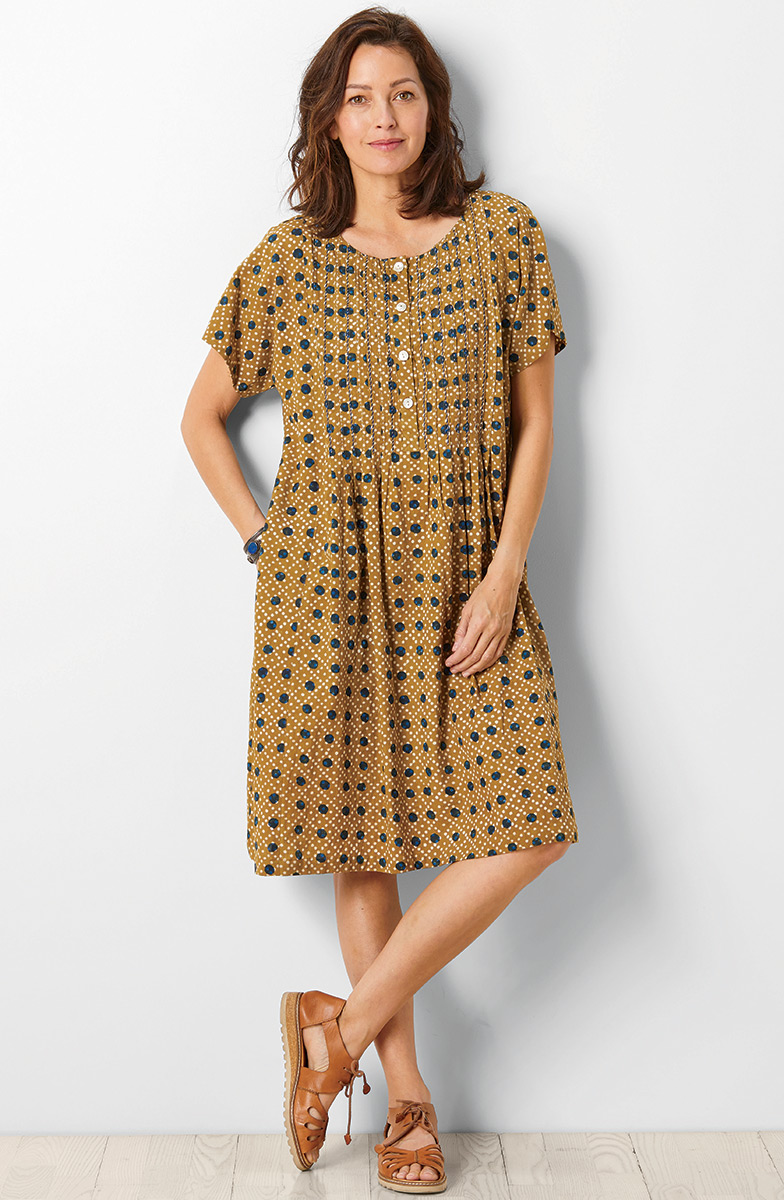 Chameli Dress - Wheat/Indigo