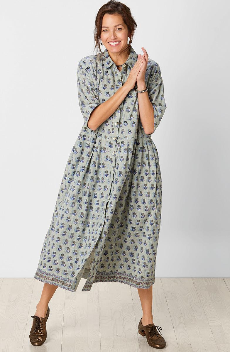 Manisha Dress - Bayleaf/Multi