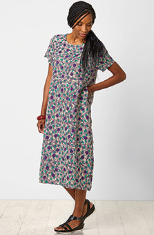 Sandhya Dress - Flax/Purple