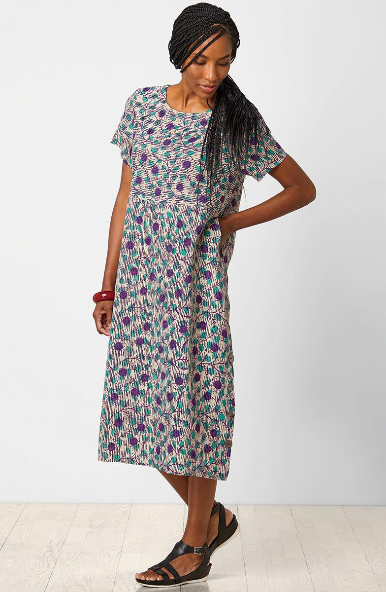 Sandhya Dress - Flax/Purple