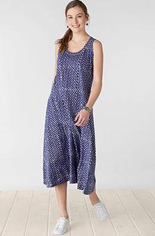 Supriya Dress - Navy/White