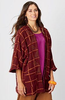 Reversible Dolman Poncho - Maroon/Orchid