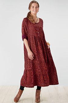 Zamania Dress - Dark Redwood/Cinnamon