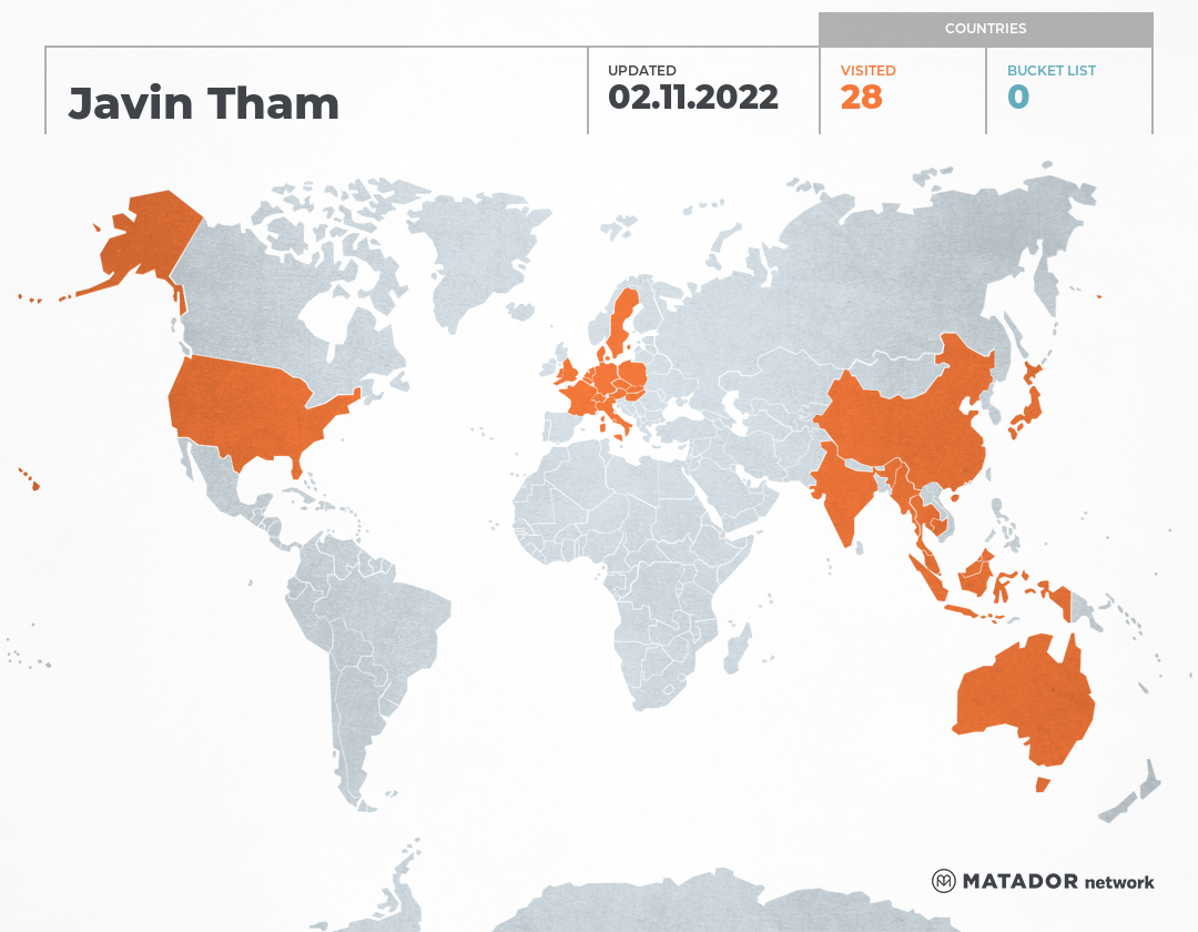 Javin Tham's Travel Map
