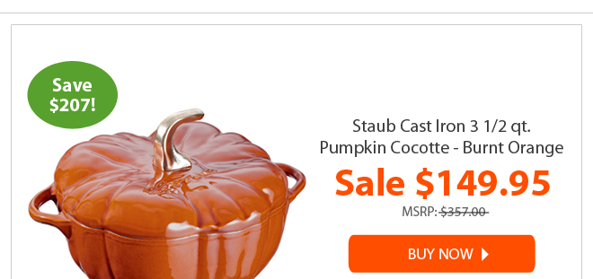 staub cast iron 3 1/2 qt. pumpkin cocotte - burnt orange for $149.95 - buy now