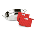 All-Clad Stainless Steel Oval Roaster, 2 All-Clad Pot Holders