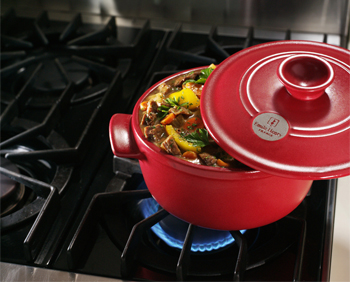 Emile Henry Cookware on Stove
