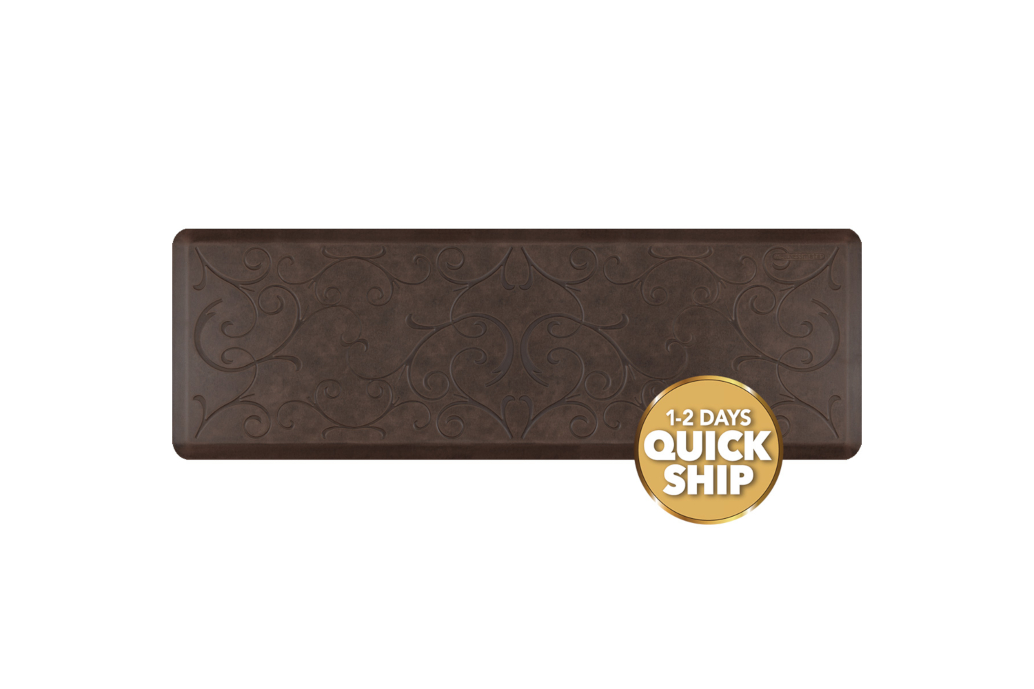 Wellness Anti-Fatigue Kitchen Mat, Bella - 6 x 2 ft. - Antique Dark