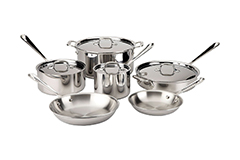 All-Clad d3 Tri-Ply Stainless Steel 10 Piece Cookware Set