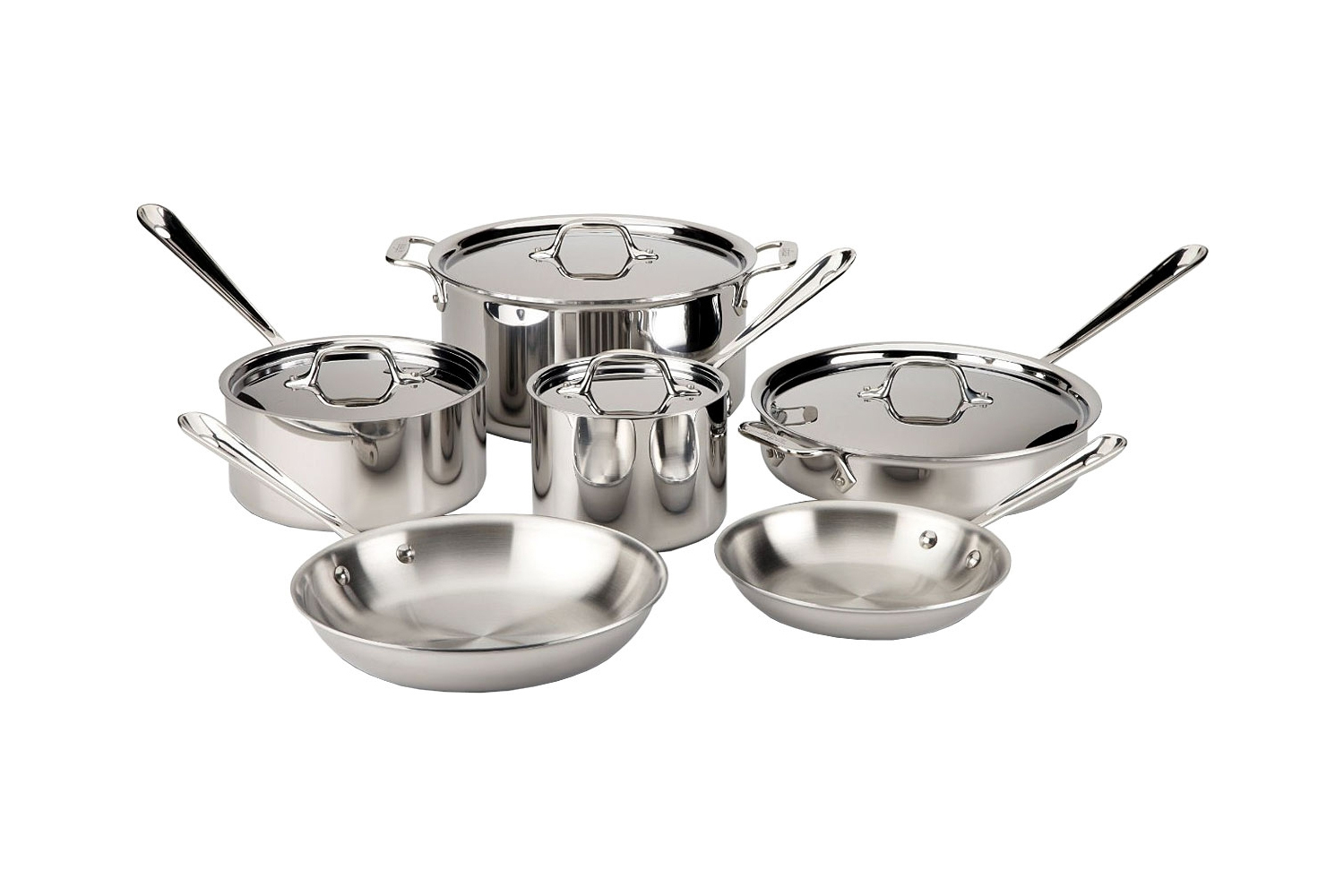 All Clad Tri Ply Stainless Steel 10pc Cookware Set 8400000962