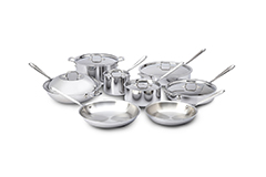 All-Clad d3 Tri-Ply Stainless Steel 14 Piece Cookware Set