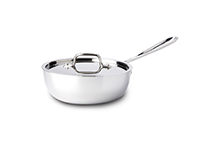 All-Clad d3 Tri-Ply Stainless Steel 2 qt. Saucier w/Lid