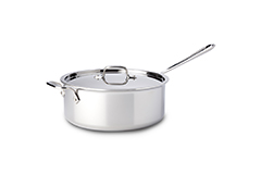 All-Clad d3 Tri-Ply Stainless Steel 6 qt. Deep Saute Pan w/Lid & Loop