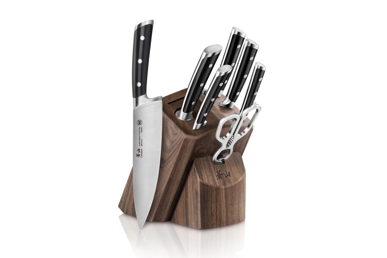 Cangshan TS Series Swedish Steel Forged 8 Piece Knife Block Set w/Walnut Block