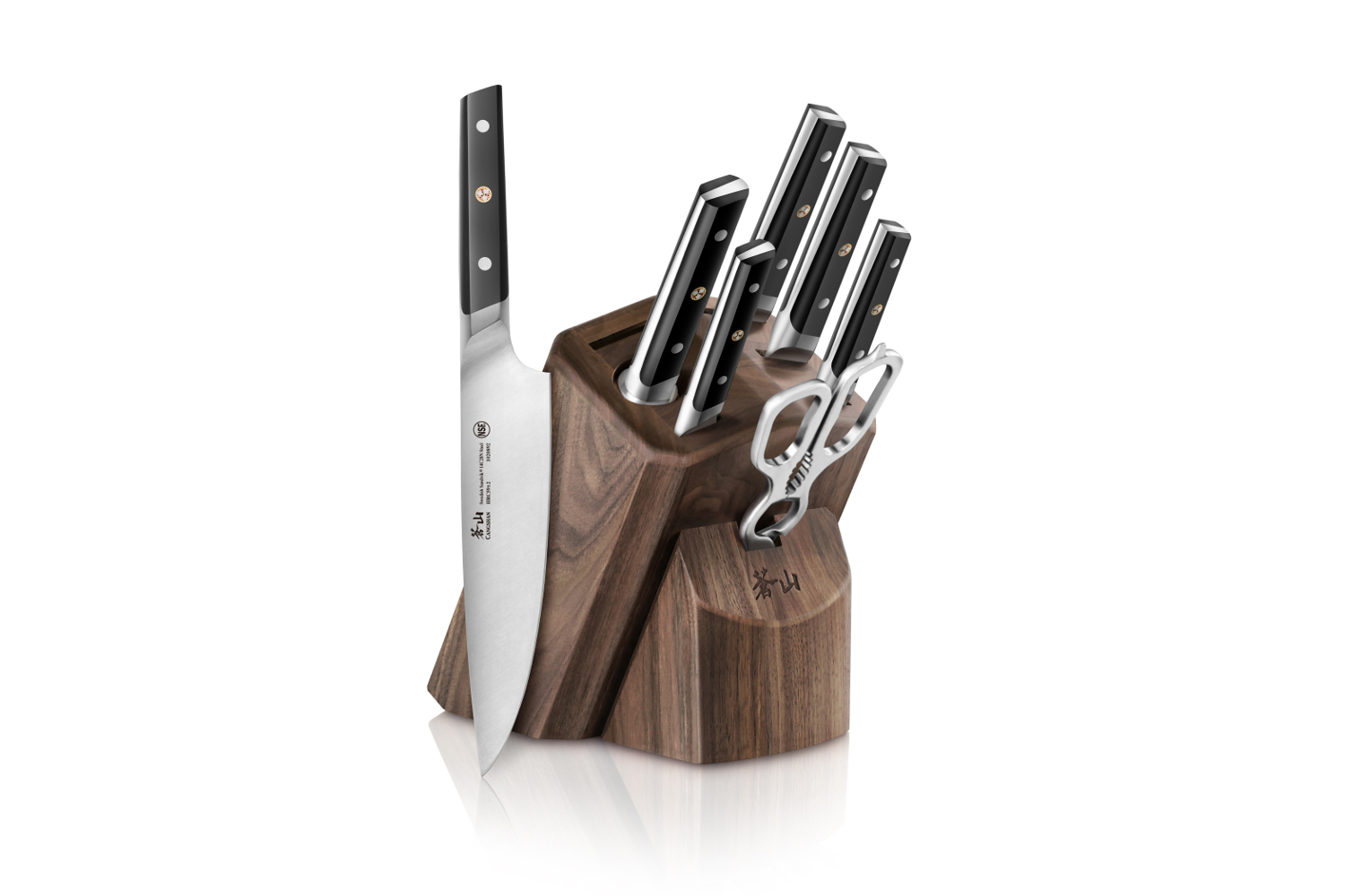 Cangshan TC Series Swedish Steel Forged 8 Piece Knife Block Set w/Walnut Block