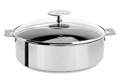 Cristel Mutine Stainless Steel 4-1/2 qt. Nonstick Saute Pan w/Glass Lid