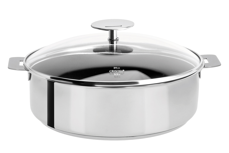 Cristel Mutine Stainless Steel 4-1/2 qt. Nonstick Saute Pan w/Glass Lid