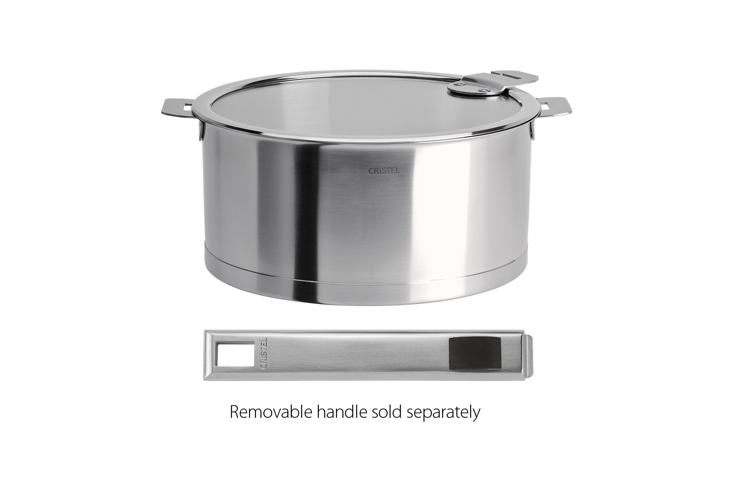 Cristel Strate Brushed Stainless 1.5 qt. Sauce Pan w/Glass Lid