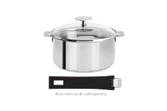 Cristel Mutine Stainless Steel 2 qt. Sauce Pan w/Glass Lid