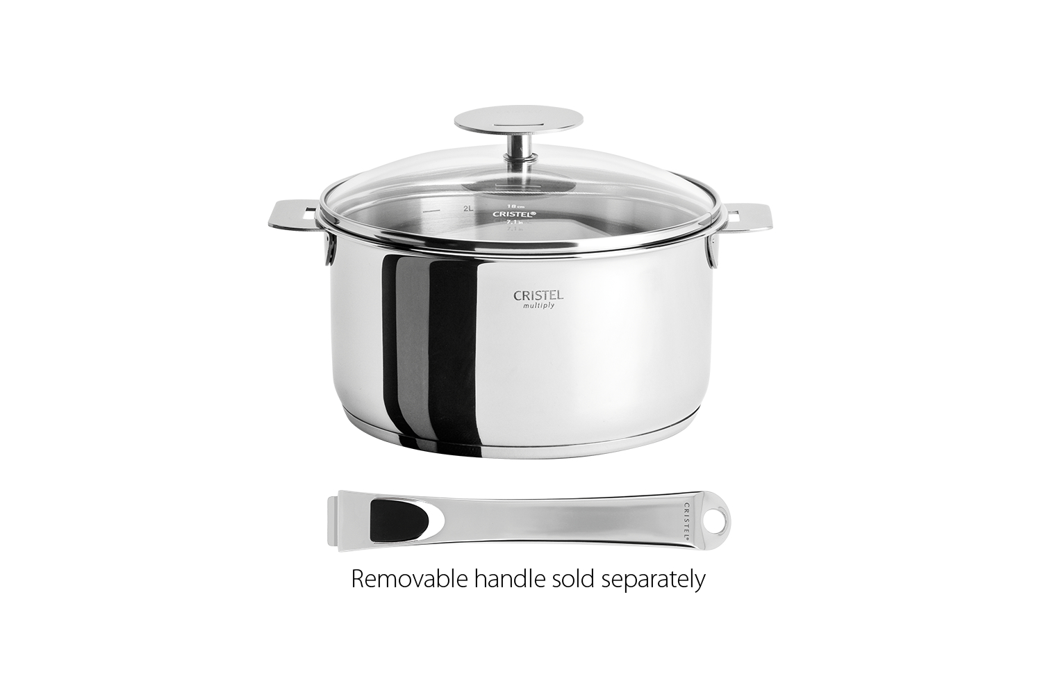 Cristel Casteline Stainless Steel 6 qt. Sauce/Stew Pan w/Glass Lid