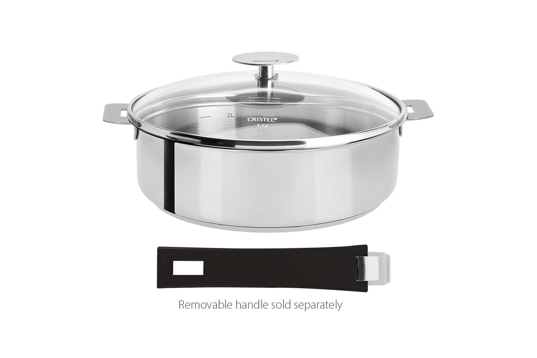 Cristel Mutine Stainless Steel 3 qt. Saute Pan w/Glass Lid