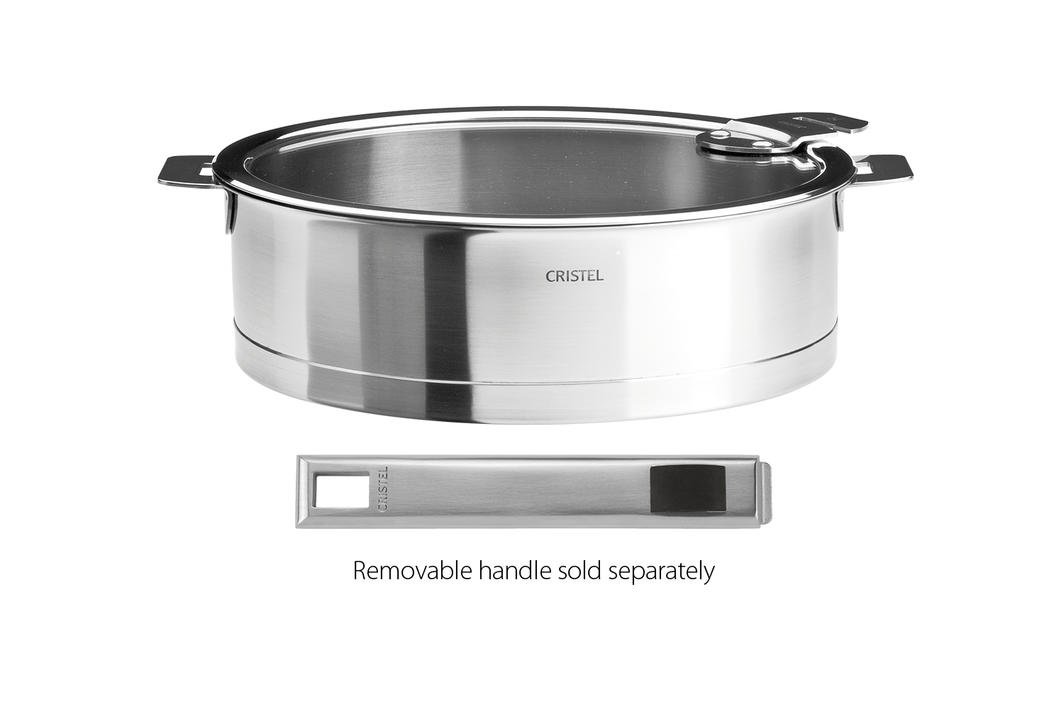 Cristel Strate Brushed Stainless 3.5 qt. Saute Pan w/Glass Lid