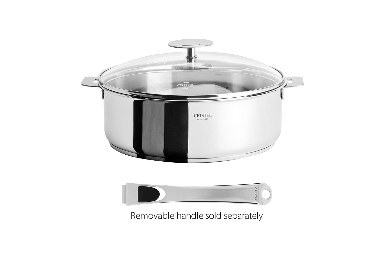 Cristel Casteline Stainless Steel 4 qt. Saute Pan w/Glass Lid