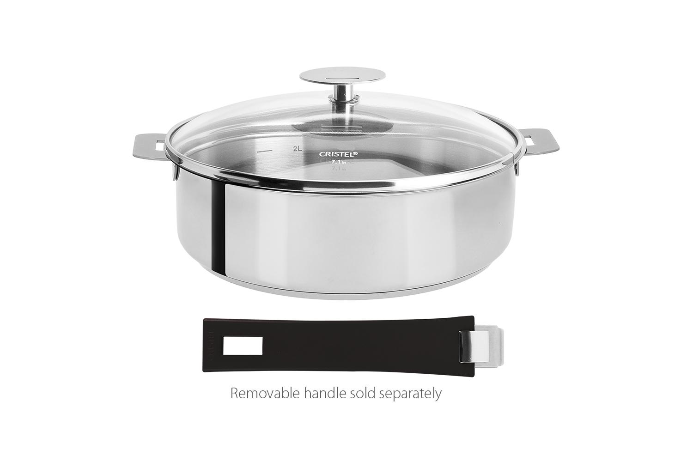 Cristel Mutine Stainless Steel 9-1/2 qt. Saute Pan w/Glass Lid