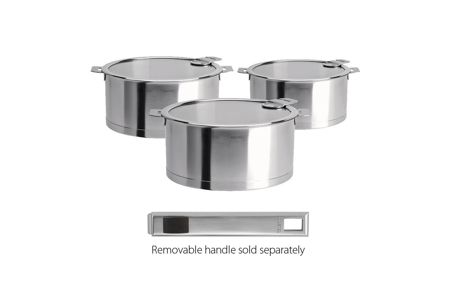 Cristel Strate Brushed Stainless set of 3  Sauce Pans  w/Glass Lids