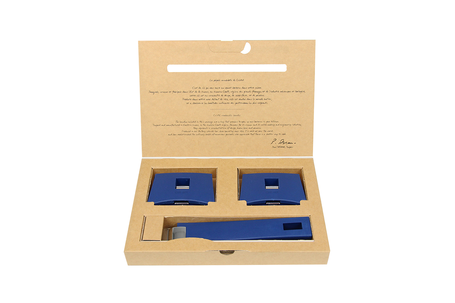 Cristel Mutine Set of 3 Handles, 1 long and 2 Sides - Blue Ink