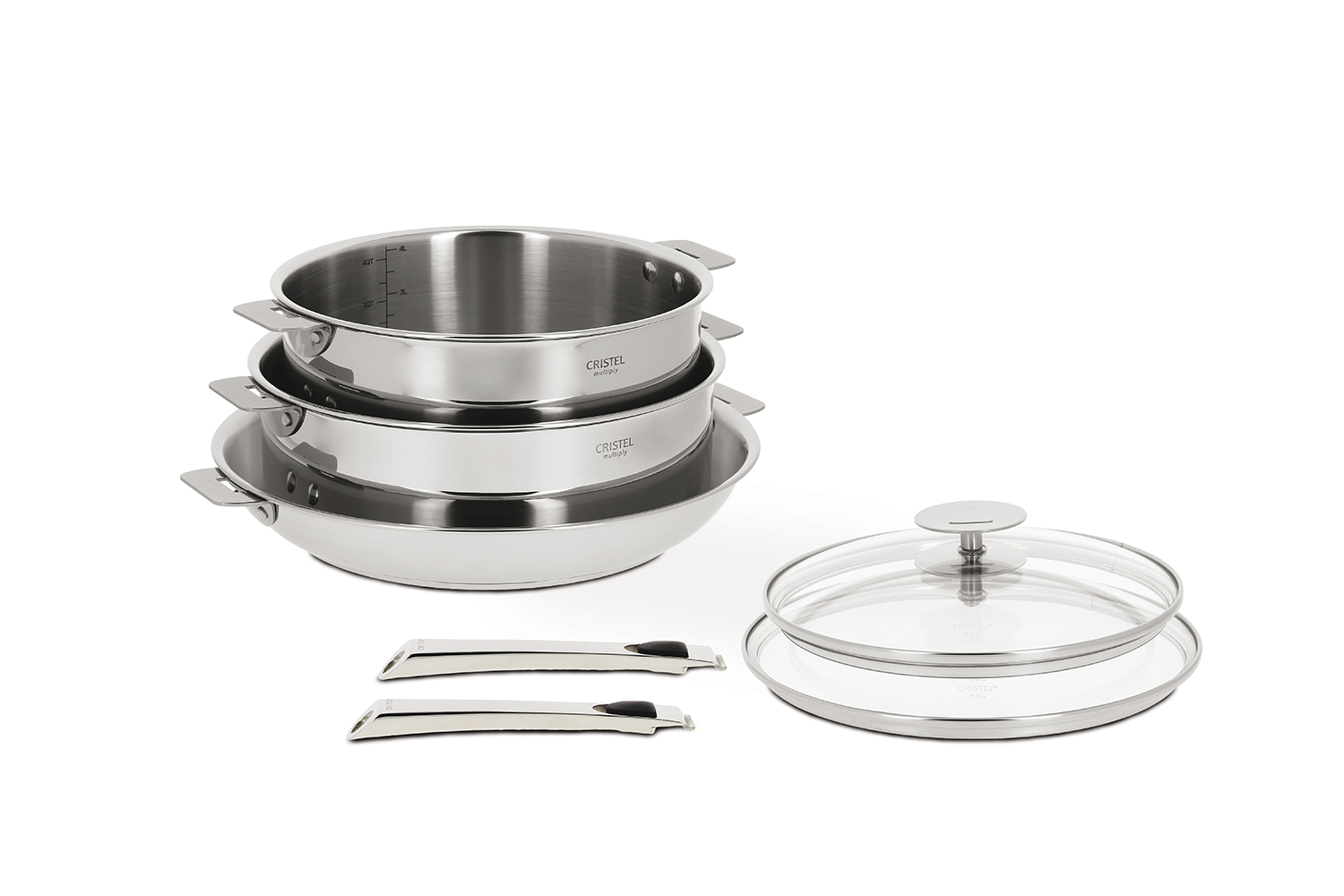 Cristel Casteline Stainless Steel 7 Piece Cookware Set, Removable Handle