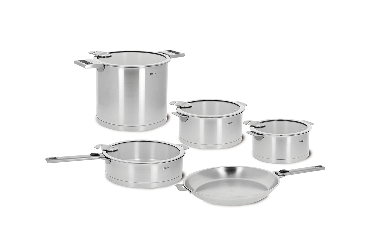 Cristel Strate Brushed Stainless 13 Piece Cookware Set, Removable Handle