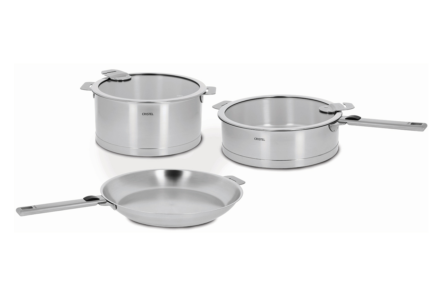 Cristel Strate Brushed Stainless 7 Piece Cookware Set, Removable Handle