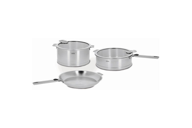 Cristel Strate Removable Brushed Stainless 7pc Cookware Set