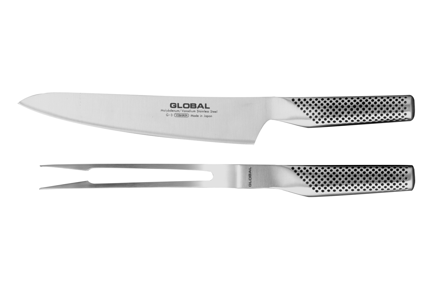 Global 2 Piece Carving Knife Set w/Curved Carving Fork