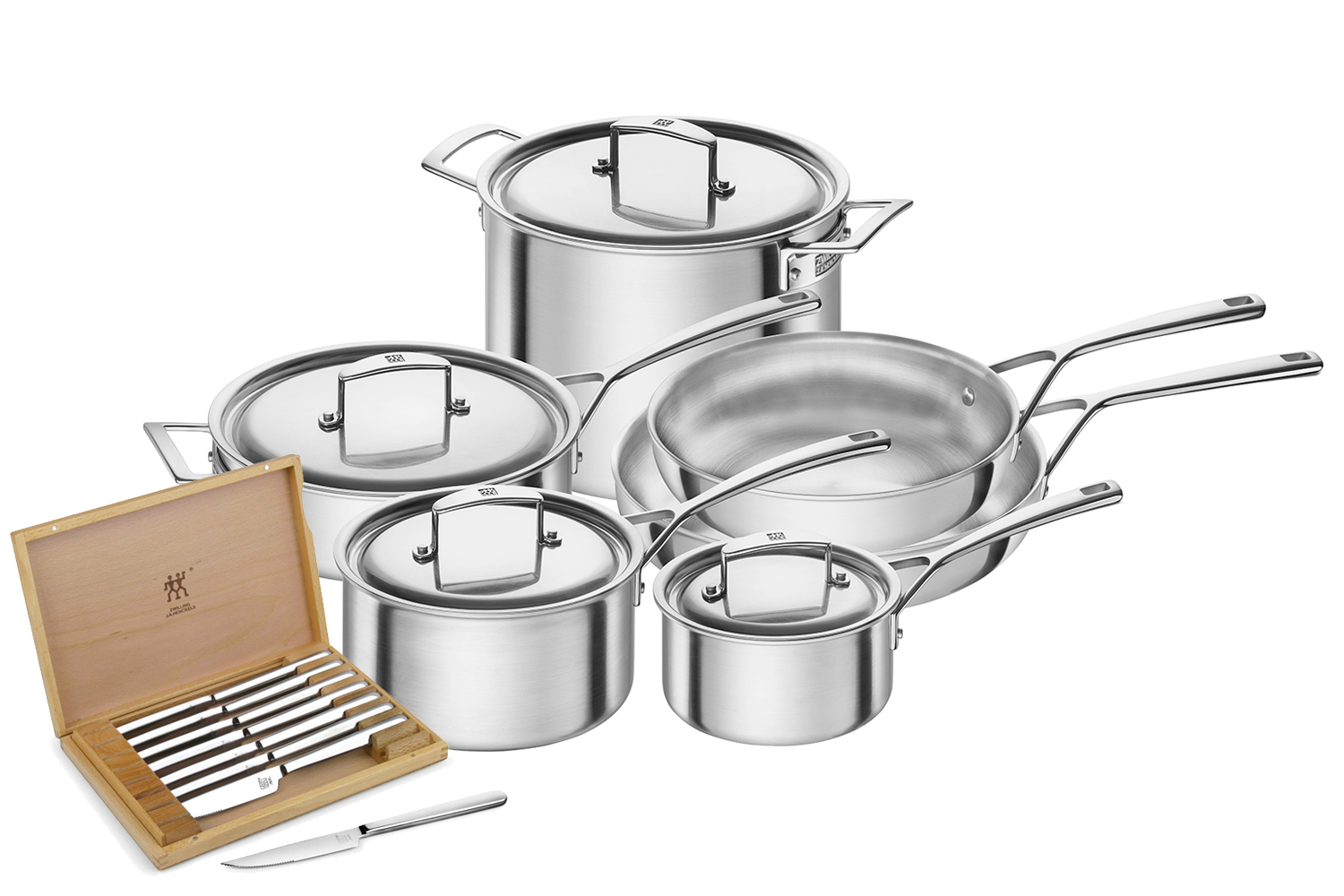 Zwilling Aurora 5-Ply Stainless Steel 10 Piece Cookware Set plus Free 8 pc. Knife Set