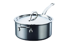 Hestan NanoBond Stainless Steel 4 qt. Covered Saucepan w/Helper Handle