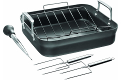 Zwilling Motion Hard Anodized 16 x 14 inch Nonstick Roaster w/ Rack and Tools