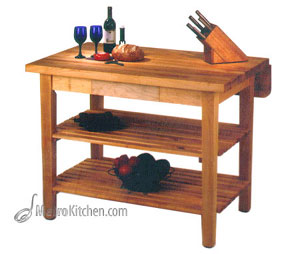 John Boos Kitchen Island Bar w/ Drop Leaf - 48 in x 32 in
