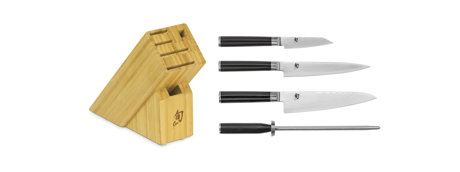 Shun Classic 5 Piece Asian Knife Set w/Bamboo Block