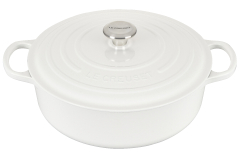 Le Creuset Signature Cast Iron 6 3/4 qt.  Round Wide Dutch Oven - White