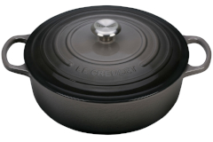 Le Creuset Signature Cast Iron 6 3/4 qt.  Round Wide Dutch Oven - Oyster