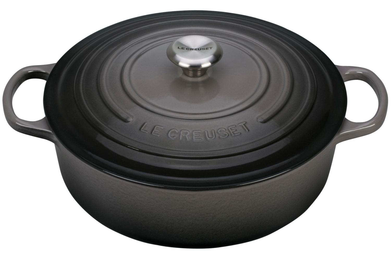 Le Creuset Signature Cast Iron 6 3/4 qt.  Round Wide Dutch Oven - Oyster
