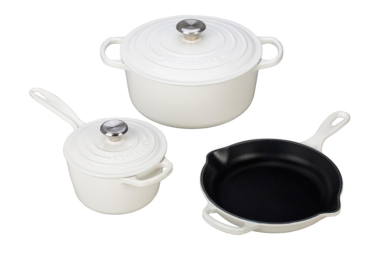 Le Creuset Signature Cast Iron 5 Piece Cookware Set - White