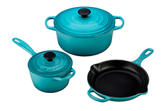 Le Creuset Signature Cast Iron 5 Piece Cookware Set - Caribbean