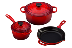 Le Creuset Signature Cast Iron 5 Piece Cookware Set - Cerise