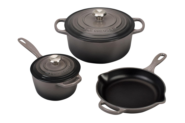 Le Creuset Signature Cast Iron 5 Piece Cookware Set - Oyster