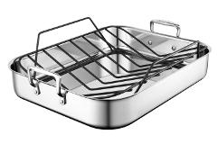 Le Creuset Premium Stainless Steel 17 x 14 inch Roasting Pan Set