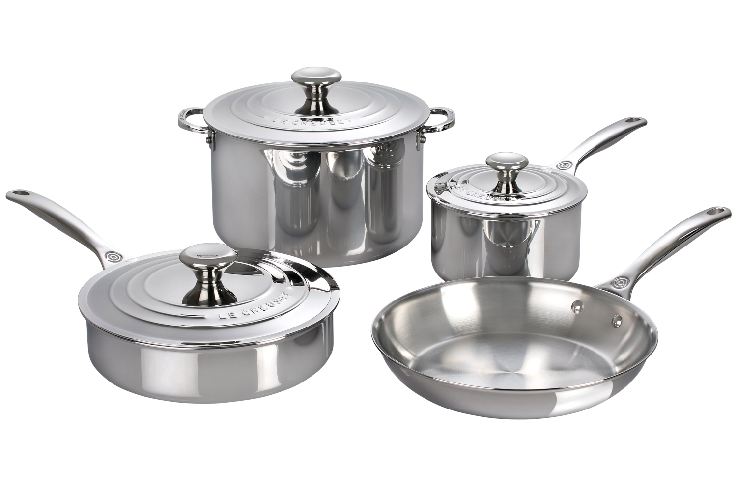 Le Creuset Premium Stainless Steel 7 Piece Cookware Set