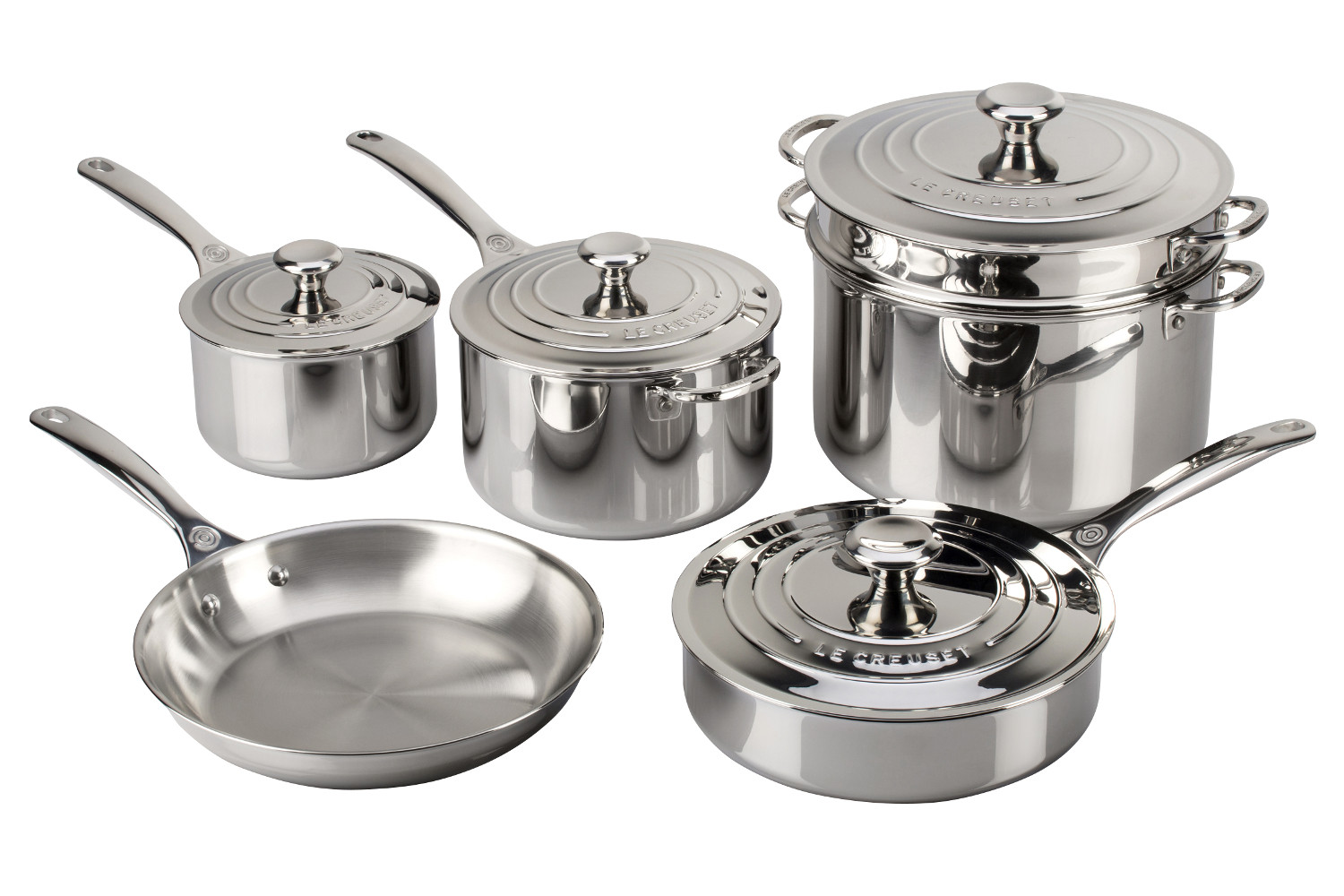 Le Creuset Premium Stainless Steel 10 Piece Cookware Set